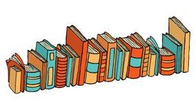 Libri/pila diritti differenti delle biblioteche Fotografia Stock