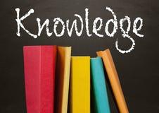 Libri in priorità alta con il testo della lavagna di conoscenza Immagini Stock