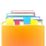 Libri realistici colorati luminosi in fila con i segnalibri e copertura in bianco su bianco Fotografie Stock