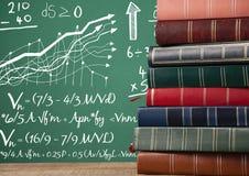 Libri sulla priorità alta dello scrittorio con i grafici della lavagna delle formule di per la matematica Fotografia Stock