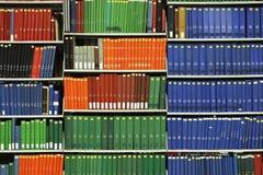 Libri sullo scaffale per libri delle biblioteche Fotografia Stock Libera da Diritti