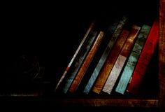 Libri sullo scaffale per libri fioco illuminato Fotografia Stock
