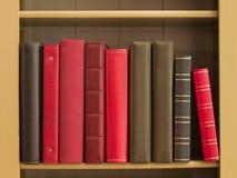 Libri in uno scaffale per libri immagini stock