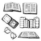 Libri, vecchio orologio ed insieme di vettore di vetro Immagine Stock Libera da Diritti