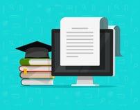 Libri vicino all'illustrazione di vettore del computer, al concetto piano di studio del fumetto ed al documento di testo sullo sc royalty illustrazione gratis