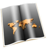 libro 3d con la correspondencia de mundo de oro Imagen de archivo libre de regalías