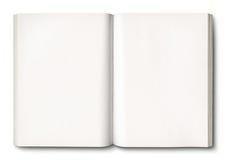 Libro abierto del blanco aislado en blanco Imagen de archivo libre de regalías