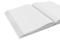 Libro abierto del espacio en blanco blanco en el fondo blanco Fotografía de archivo