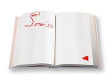 Libro abierto (el amor es) Imágenes de archivo libres de regalías
