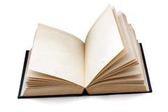 Libro abierto pasado de moda con las páginas vacías aisladas con las sombras Foto de archivo libre de regalías