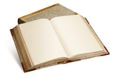Libro abierto vintage con las páginas en blanco aisladas Imagenes de archivo