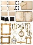 Libro antico, carta invecchiata, chiavi dorate Raccolta di obj d'annata Fotografia Stock Libera da Diritti