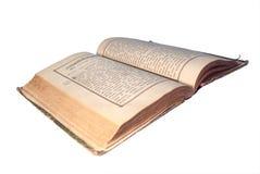 Libro antico con il percorso di residuo della potatura meccanica Immagine Stock