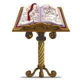 Libro antiguo de encantos con símbolos en soporte stock de ilustración