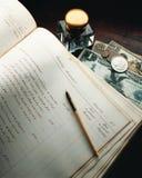 Libro antiguo del libro mayor Fotografía de archivo