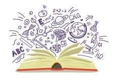Libro aperto con istruzione, scuola, schizzi disegnati a mano di scienza su fondo bianco illustrazione vettoriale