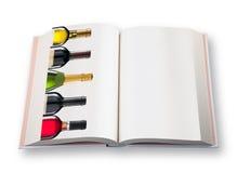 Libro aperto (con la bottiglia di vino cinque) Fotografia Stock