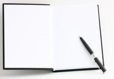 Libro aperto con le pagine in bianco Fotografia Stock