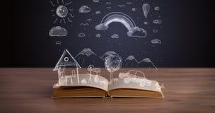 Libro aperto con paesaggio disegnato a mano Immagini Stock Libere da Diritti