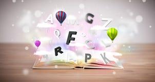 Libro aperto con pilotare le lettere 3d su fondo concreto Immagine Stock