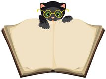 Libro aperto della lettura del gatto Fotografie Stock