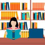 Libro aperto della lettura dello studente Royalty Illustrazione gratis