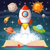 Libro aperto di favola con l'astronave, sole, luna, saturno, UFO, cometa illustrazione vettoriale