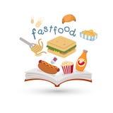 Libro aperto ed icone di alimenti a rapida preparazione illustrazione vettoriale