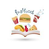 Libro aperto ed icone di alimenti a rapida preparazione illustrazione di stock