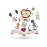 Libro aperto ed icone di forma fisica Fotografia Stock