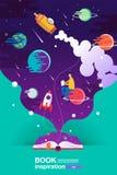 Libro aperto, fondo dello spazio, scuola, lettura ed imparare, immaginazione ed immagine di ispirazione Fantasia e creativo, pian illustrazione di stock