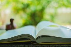 Libro aperto su sfondo naturale vago Fotografia Stock
