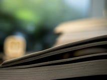 Libro aperto sulla tavola con fondo vago Fotografia Stock