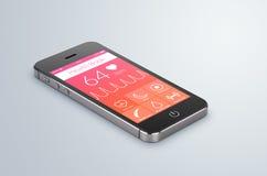 Libro app di salute sullo schermo moderno dello smartphone Immagine Stock Libera da Diritti