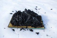 Libro ardiendo en nieve p?ginas con el texto en quemadura abierta del libro con la llama brillante imágenes de archivo libres de regalías