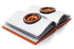 Libro audio con los altavoces en el libro abierto ilustración 3D Fotografía de archivo libre de regalías