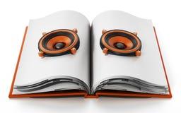 Libro audio con los altavoces en el libro abierto ilustración 3D Fotos de archivo libres de regalías