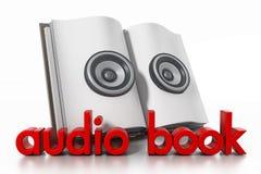 Libro audio con los altavoces en el libro abierto ilustración 3D Imágenes de archivo libres de regalías