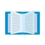libro azul de la historieta leído aprendiendo la escuela ilustración del vector