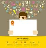 Libro Bianco del business plan nell'uomo delle mani royalty illustrazione gratis