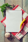 Libro in bianco di ricetta immagini stock