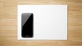 Libro Blanco del smartphone negro en fondo de madera fotografía de archivo