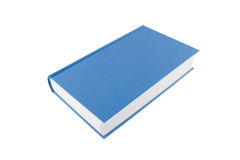 Libro blu chiuso isolato su una priorità bassa bianca Fotografie Stock
