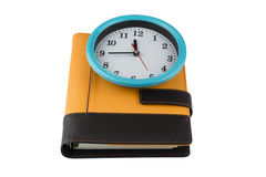Libro blu del diario e dell'orologio Immagine Stock Libera da Diritti