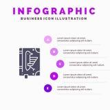 Libro, códice, constitución, declaración, fondo sólido de la presentación de los pasos de Infographics 5 del icono del decreto ilustración del vector
