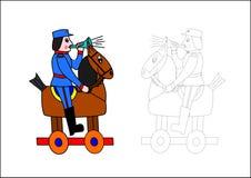 Libro-cavallo e soldato di coloritura Fotografia Stock