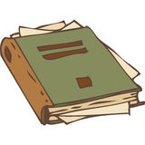 Libro cerrado con las páginas rasgadas stock de ilustración