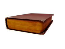 Libro cerrado rojo del vintage aislado en el fondo blanco Imagen de archivo