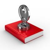 Libro chiuso su priorità bassa bianca. 3D isolato Fotografia Stock