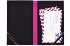Libro classico della scheda della busta della posta di aria Fotografia Stock